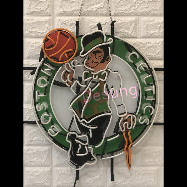 Desung Boston Celtics (Sports - Basketball) vivid neon sign, front view, turned off
