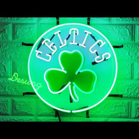 Desung Boston Celtics (Sports - Basketball) vivid neon sign, front view, turned on