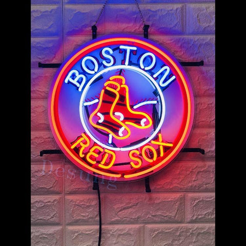 Desung Boston Red Sox (Sports - Baseball) vivid neon sign, front view, turned on