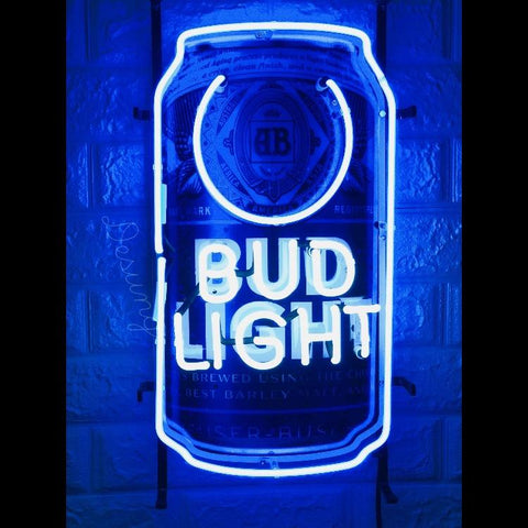 Desung Bud Light Can (Alcohol - Beer) vivid neon sign, front view, turned on