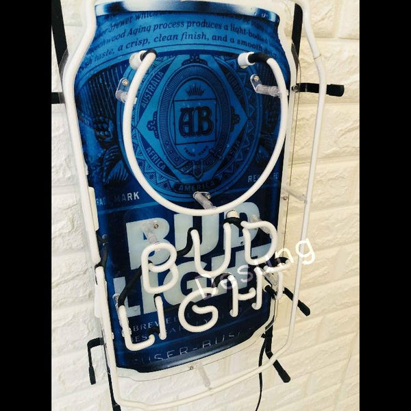 Desung Bud Light Can (Alcohol - Beer) vivid neon sign, isometric view, turned off