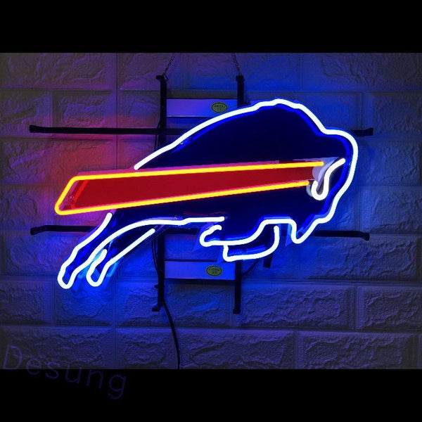 Desung Buffalo Bills (Sports - Football) vivid neon sign, front view, turned on
