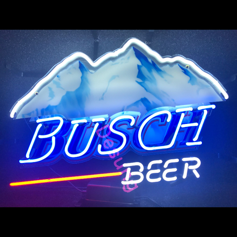 Desung Busch Beer (Alcohol - Beer) vivid neon sign, front view, turned on