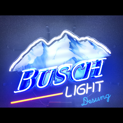Desung Busch Light (Alcohol - Beer) vivid neon sign, front view, turned on