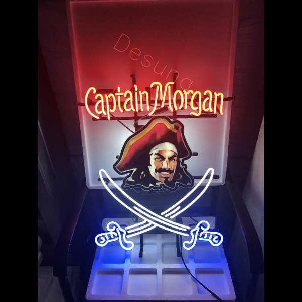 Desung Captain Morgan (Alcohol - Rum) vivid neon sign, front view, turned on
