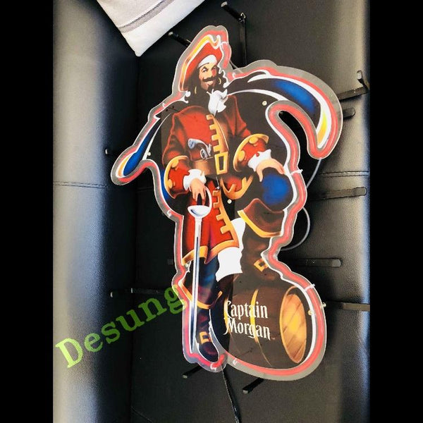 Desung Captain Morgan (Alcohol - Rum) vivid neon sign, isometric view, turned off