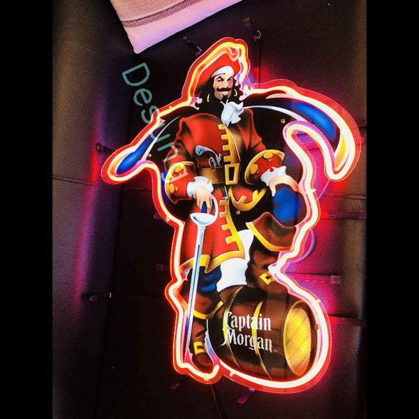 Desung Captain Morgan (Alcohol - Rum) vivid neon sign, isometric view, turned on