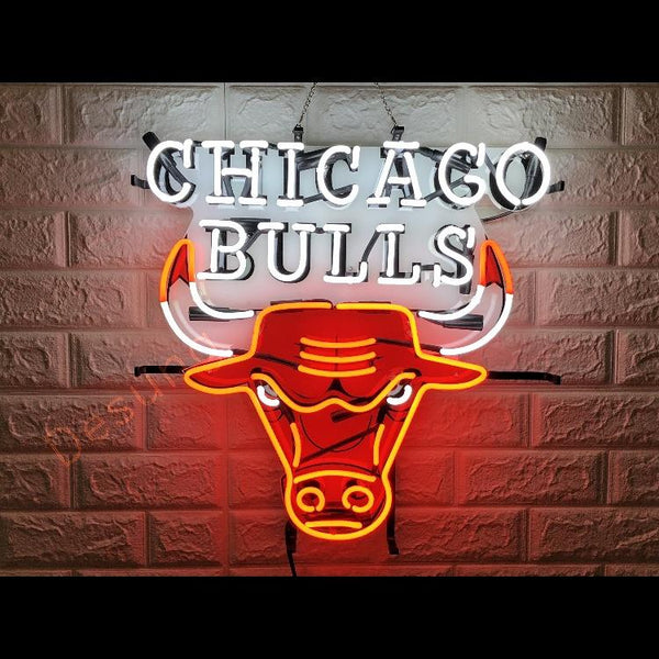 Desung Chicago Bulls (Sports - Baseball) vivid neon sign, front view, turned on
