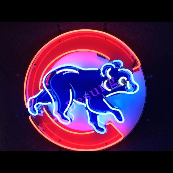 Desung Chicago Cubs (Sports - Baseball) vivid neon sign, front view, turned on