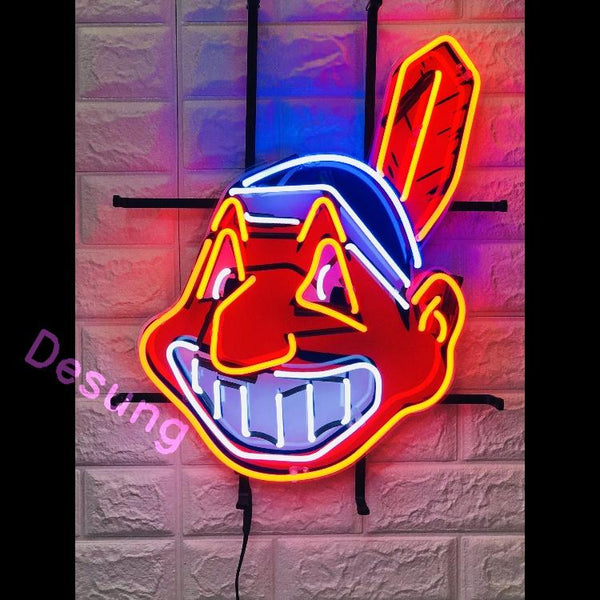Desung Cleveland Indians (Sports - Baseball) vivid neon sign, front view, turned on