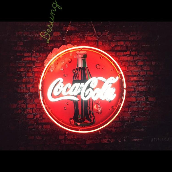 Desung Coca Cola (Business - Drink) vivid neon sign, front view, turned on