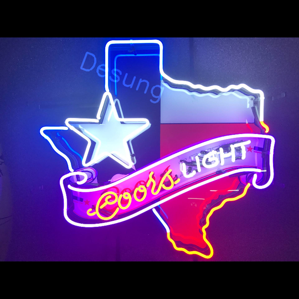 Desung Coors Light Texas Star (Alcohol - Beer) vivid neon sign, front view, turned on