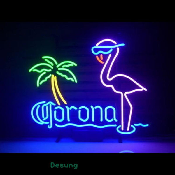 Desung New Corona Beer Pink Flamingo Real Glass Handmade Bar (Alcohol - Beer) Neon Light Sign