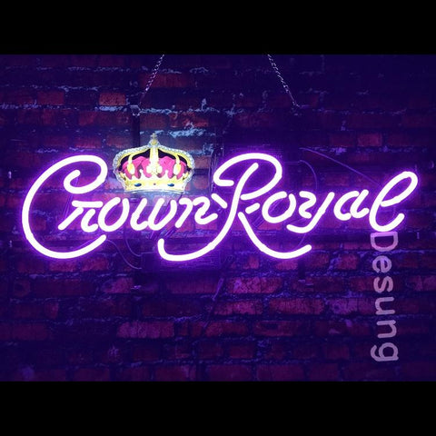 Desung Crown Royal (Alcohol - Whisky) vivid neon sign, front view, turned on