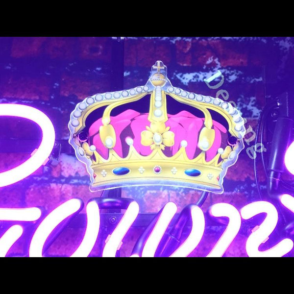 Desung Crown Royal (Alcohol - Whisky) vivid neon sign, part view, turned on