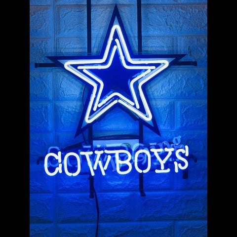 Desung Dallas Cowboys (Sports - Football) vivid neon sign, front view, turned on