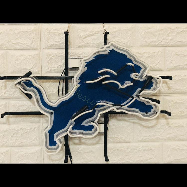 Desung Detroit Lions (Sports - Football) vivid neon sign, front view, turned off