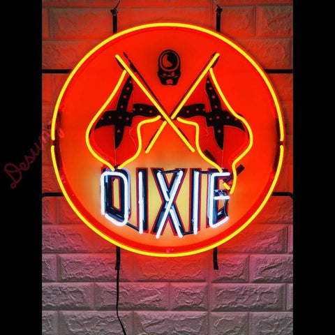 Desung Dixie Gas Gasoline (Business - Gas Station) vivid neon sign, front view, turned on