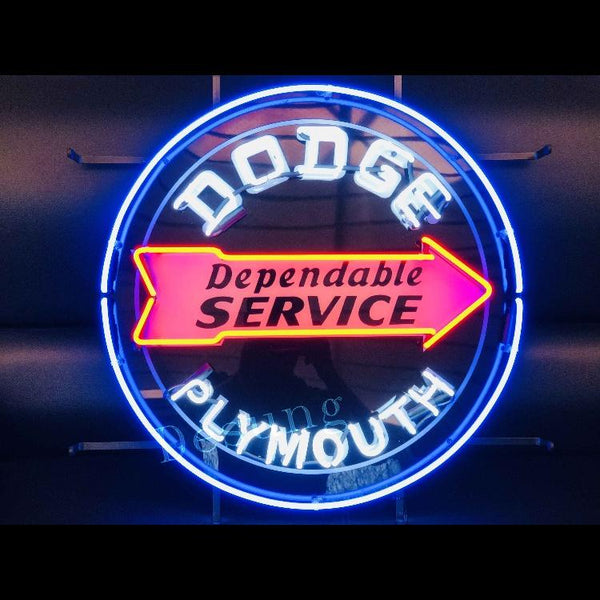 Desung Dodge Dependable Service Plymouth (Auto) vivid neon sign, front view, turned on