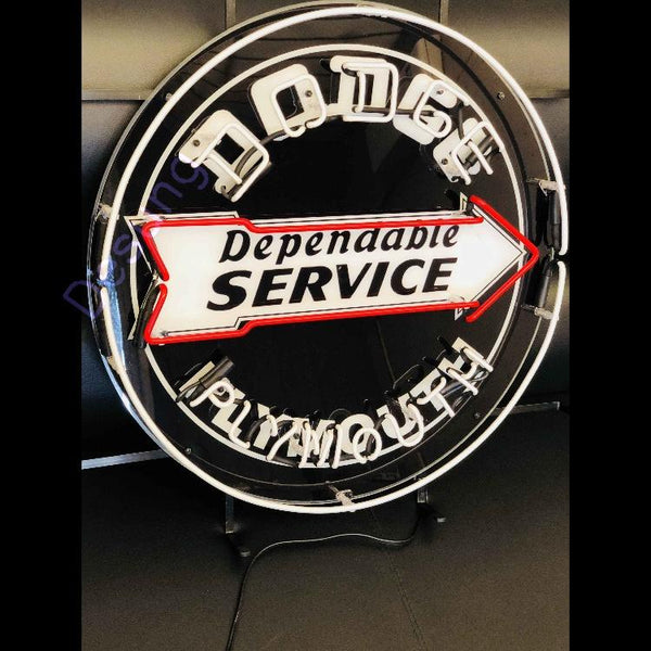 Desung Dodge Dependable Service Plymouth (Auto) vivid neon sign, isometric view, turned off