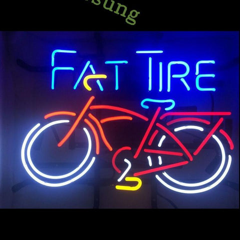 Desung Fat Tire Bicycle Bike Room Beer Man Cave Real Glass (Alcohol - Beer) Neon Sign