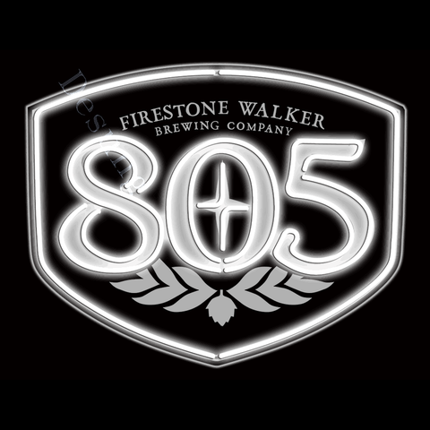Desung Firestone Walker 805 (Alcohol - Beer) vivid neon sign, front view, turned on