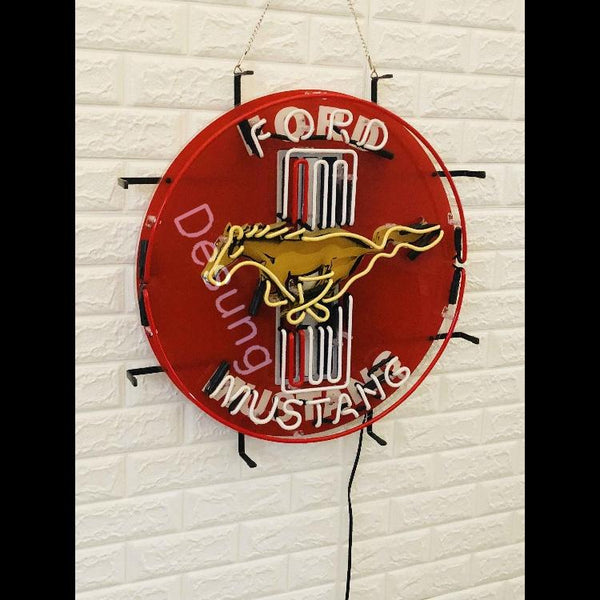 Desung Ford Mustang (Auto) vivid neon sign, front view, turned off