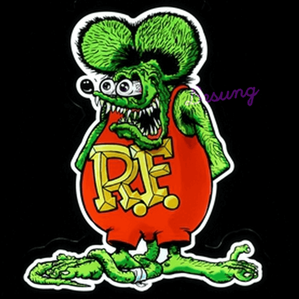 Green Rat Fink auto man cave LED sign