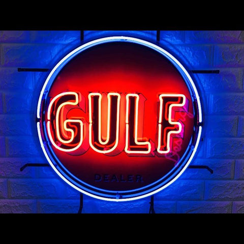 Desung Gulf Gas Gasoline (Business - Gas Station) vivid neon sign, front view, turned on