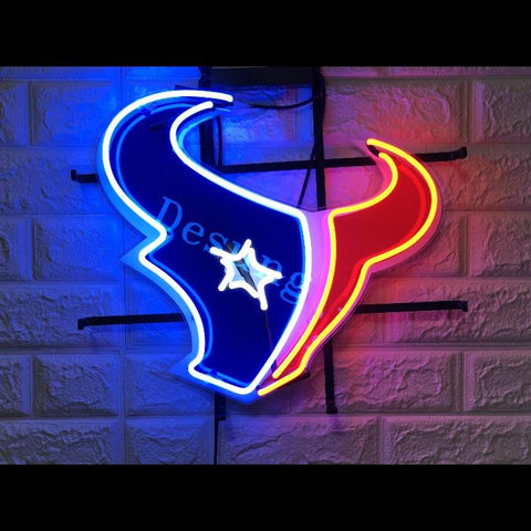 Desung Houston Texans (Sports - Football) vivid neon sign, front view, turned on