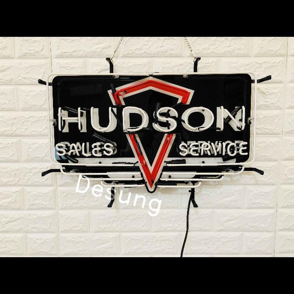 Desung Hudson Sales Service (Auto) vivid neon sign, front view, turned off