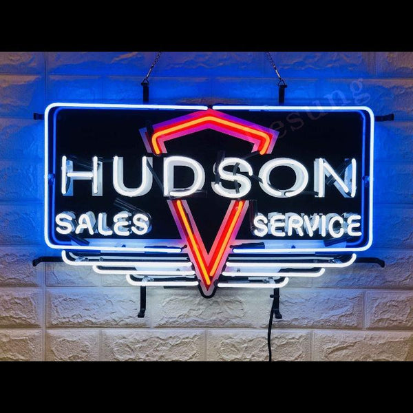 Desung Hudson Sales Service (Auto) vivid neon sign, front view, turned on