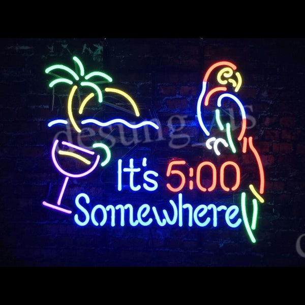 Desung It's 5:00 Somewhere Parrot (Business - Bar) Neon Sign