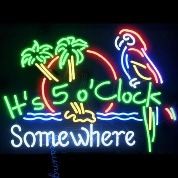 Desung It's 5:00 Somewhere Parrot Beer Palm Tree (Business - Bar) Neon Sign