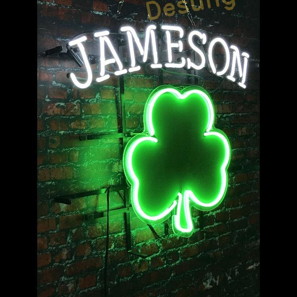 Desung Jameson Irish Whiskey (Alcohol - Whiskey) vivid neon sign, front view, turned on