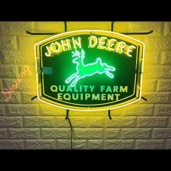 Desung John Deere Quality Farm Equipment (Auto) vivid neon sign, front view, turned on
