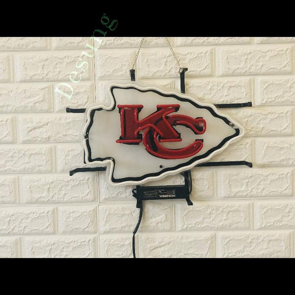 Desung Kansas City Chiefs (Sports - Football) vivid neon sign, front view, turned off