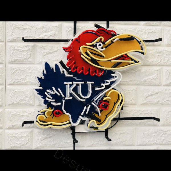 Desung Kansas Jayhawks (Sports - Basketball) vivid neon sign, front view, turned off