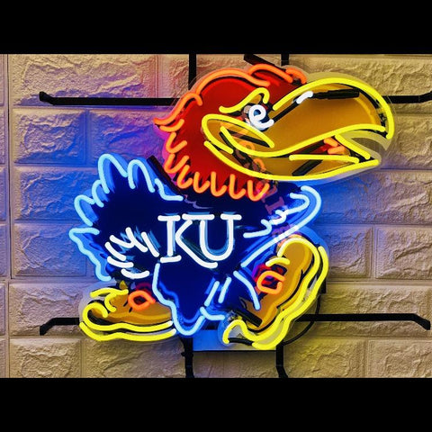 Desung Kansas Jayhawks (Sports - Basketball) vivid neon sign, front view, turned on