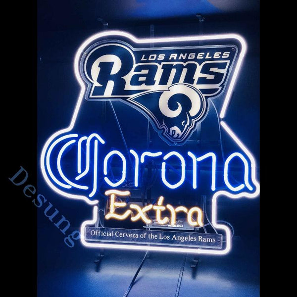 Desung Los Angeles Rams (Sports - Football) Corona Extra (Alcohol - Beer) vivid neon sign, front view, turned on