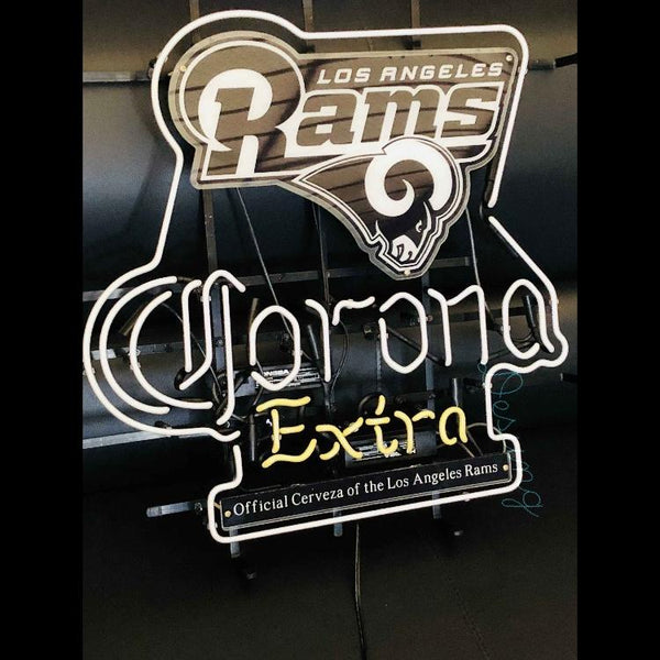 Desung Los Angeles Rams (Sports - Football) Corona Extra (Alcohol - Beer) vivid neon sign, front view, turned off