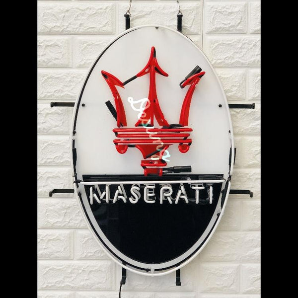 Desung Maserati (Auto) vivid neon sign, front view, turned off