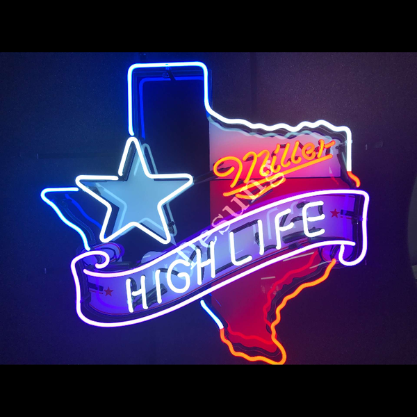 Desung Miller High Life Texas Star (Alcohol - Beer) vivid neon sign, front view, turned on