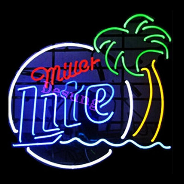 Miller Lite Palm Tree alcohol beer bar Neon Sign