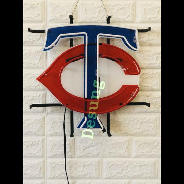 Desung Minnesota Twins (Sports - Baseball) vivid neon sign, front view, turned off