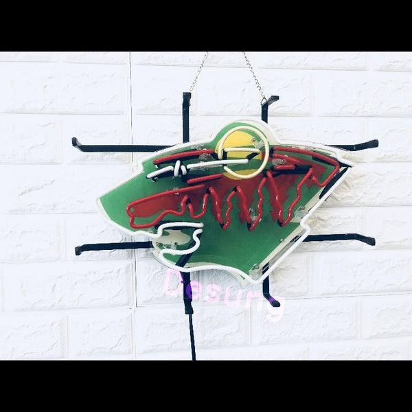 Desung Minnesota Wild (Sports - Hockey) vivid neon sign, front view, turned off