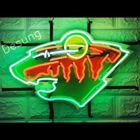 Desung Minnesota Wild (Sports - Hockey) vivid neon sign, front view, turned on