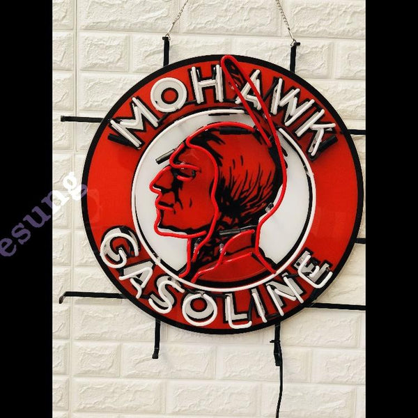 Desung Mohawk Gasoline (Business - Gas Station) vivid neon sign, front view, turned off