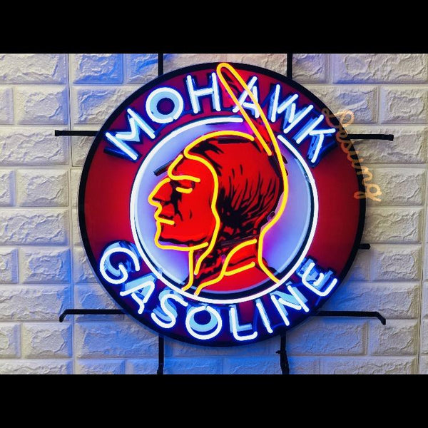 Desung Mohawk Gasoline  (Business - Gas Station) vivid neon sign, front view, turned on