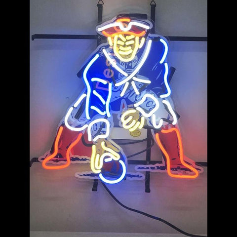 Desung New England Patriots (Sports - Football) vivid neon sign, front view, turned on